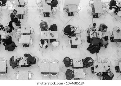 NICE, FRANCE, on March 7, 2018. The top view on picturesque cafe in an atrium of modern shopping center in the downtown