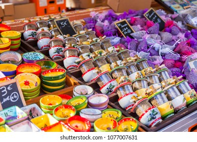 NICE, FRANCE, on March 7, 2018. Various spices of a vylozhea on counters of the well-known Cours Saleya market