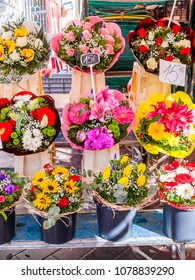 NICE, FRANCE, on March 7, 2018. Various unions of fine flowers are on sale in the street Cours Saleya market