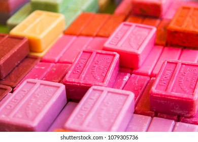 NICE, FRANCE, on March 7, 2018. The traditional soap produced in Provence from local natural ingredients lies on counters of the well-known Cours Saleya market
