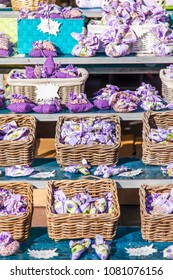 NICE, FRANCE, on March 7, 2018. Traditional souvenirs from Provence sacks with dry fragrant herbs lie on counters of the well-known Cours Saleya market