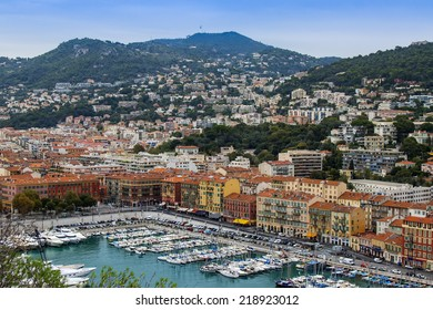 Nice, France, on October 16, 2012. View of city port and the house on the embankment from a high point