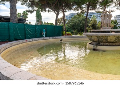 Nice, France - September 23 2019: A woman watches as her small dog plays in the water at the Three Graces fountain in Albert Park on the French Riviera.