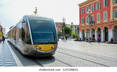 Nice / France — September 24, 2016: a modern tramway on the Place Massena (Massena square) in the center of Nice