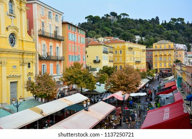 Nice / France — September 24, 2016: the Cours Saleya market in Nice, France, seen from above. Located in the old town, it is famous for its fresh produce, flowers and souvenirs