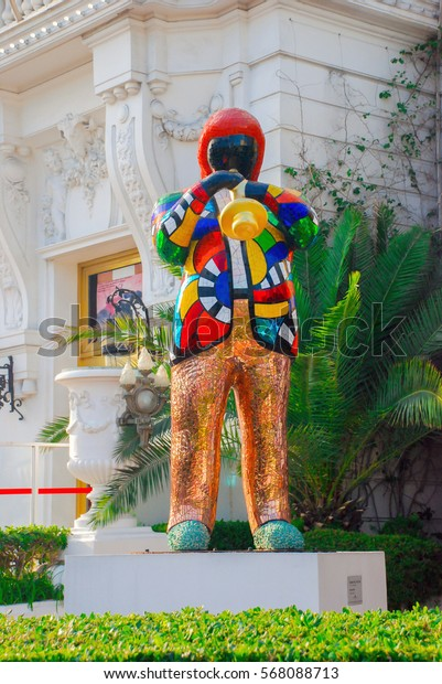 Nice, France - September 25, 2009: Sculpture musician saxophonist at the entrance to the hotel Negresco in Nice on Azure coast, France.