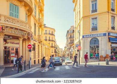 Nice, France - September 25, 2018: Pedestrian crossing in Nice