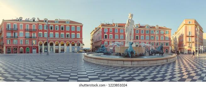 Nice, France - September 25, 2018: Nice, France - September 25, 2018: Fontaine du Soleil at Place Massena