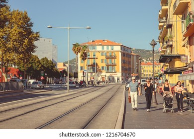 Nice, France - September 26, 2018: Tramways on one of the central streets of the city