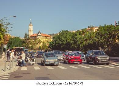 Nice, France - September 26, 2018: Road traffic at Nice