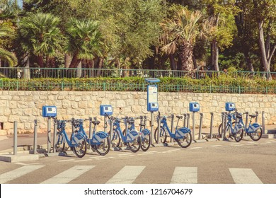 Nice, France - September 26, 2018: Bike sharing station