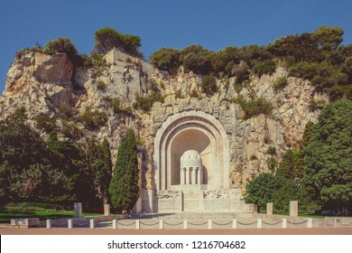 Nice, France - September 26, 2018: Memorial in the old quarry cliffs of the castle hill, honoring Nice citizens killed during WWI