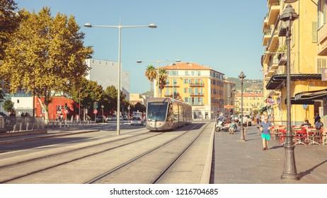 Nice, France - September 26, 2018: Tram on the city street
