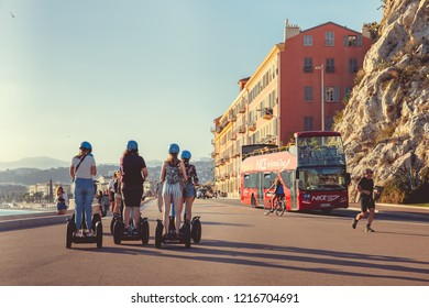 Nice, France - September 26, 2018: Tourists in the city