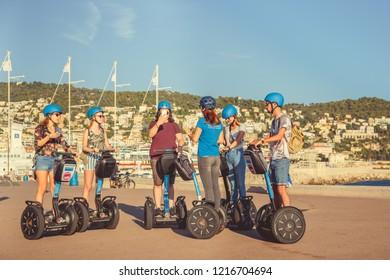 Nice, France - September 26, 2018: Tourist group on segway
