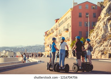 Nice, France - September 26, 2018: Segway Tourists
