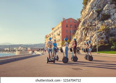 Nice, France - September 26, 2018: Segway tour on theembankment of Nice