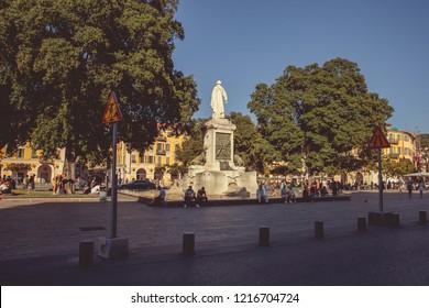 Nice, France - September 26, 2018: Place Garibaldi