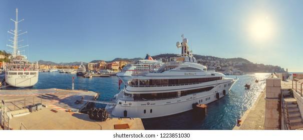 Nice, France - September 26, 2018: Port panorama