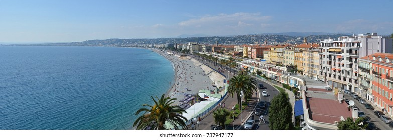 Nice, France - September 27, 2017: Aerial Panorama of Nice  Beaches & Promenade Des Anglais, Cote d'Azur, Provence, France