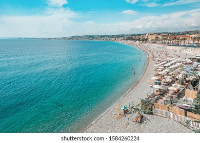 Nice, France, September 6, 2018: The public baths Plage de Castel and Plage des Ponchettes in the French city of Nice