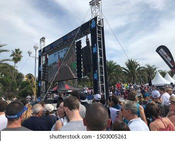 Nice, Nice / France - September 7 2019: People at Iron Man triathlon race on Promenade des Anglais crowd spectators sports event