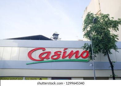 NICE, FRANCE-JUNE 04,2018:Sign at a Casino Store, France. Casino is the biggest retail store in france.