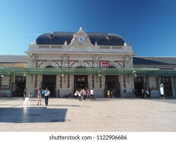 NICE, FRANCE-SEPTEMBER 22: The beautiful train station is seen in Nice, France, the French Riviera on September 22, 2017.