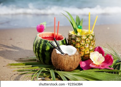 nice fresh exotic cocktails, served on the beach