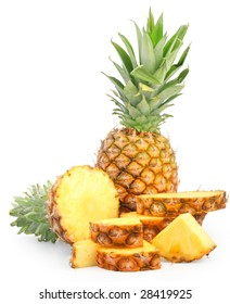 nice fresh sliced pineapples isolated over white with clipping path