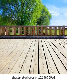 Nice garden with wooden terrace