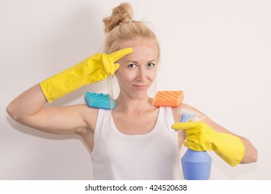 nice girl cleans the house
