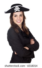 Nice girl with pirate hat over white background