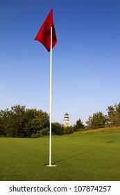 Nice golf course on a sunny summer day.