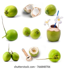 Nice green coconut fruit isolated on white, Fruit collage
