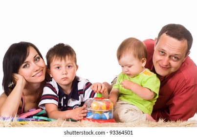 nice happy family on a white background