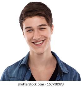 Nice happy man smiling isolated on white background
