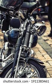 Nice Harley Davidson bike close up at 18 Anniversary of Crazy Hohols MFC Ukraine Kiev september 2018