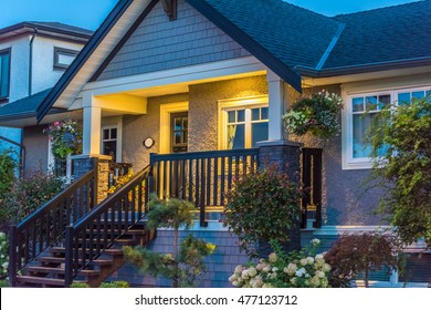 A nice house at dusk in Vancouver, Canada.