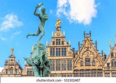 Nice houses in the old town of Antwerp, Belgium