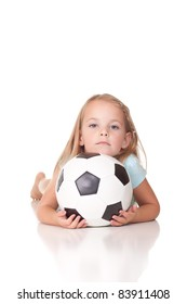 A nice image of a cool girl and her soccer ball.  Image is isolated on white.