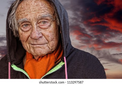 Nice Image of a elderly man against clouds
