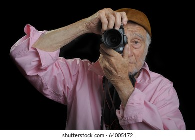 Nice Image of a senior Photographer on Black