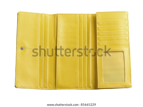 nice inside genuine leather wallet for put your ideas money cards or others isolated on white