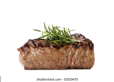 Nice juicy flame grilled Filet Mignon isolated on white