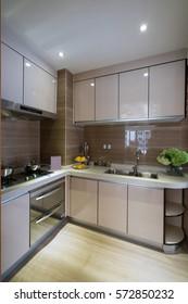 nice kitchen with modern cabinet