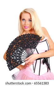Nice lady in a rose corset holding a black fan