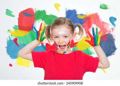 nice little blond child with paint face