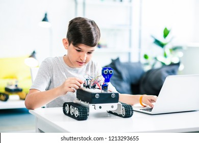 Nice little boy using his laptop while experimenting with robotic technologies