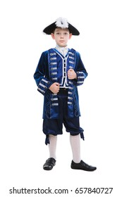 Nice little boy wearing blue musketeer costume. Isolated on white